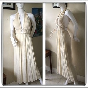 Illa Illa Ivory Gauze Halter Maxi Dress Medium